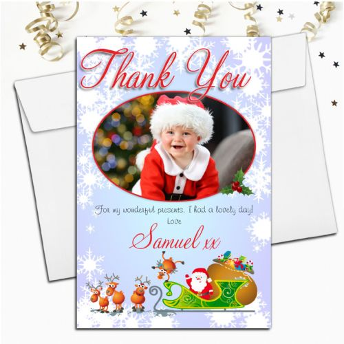 10 Personalised Christmas Xmas Thank you PHOTO Cards N31